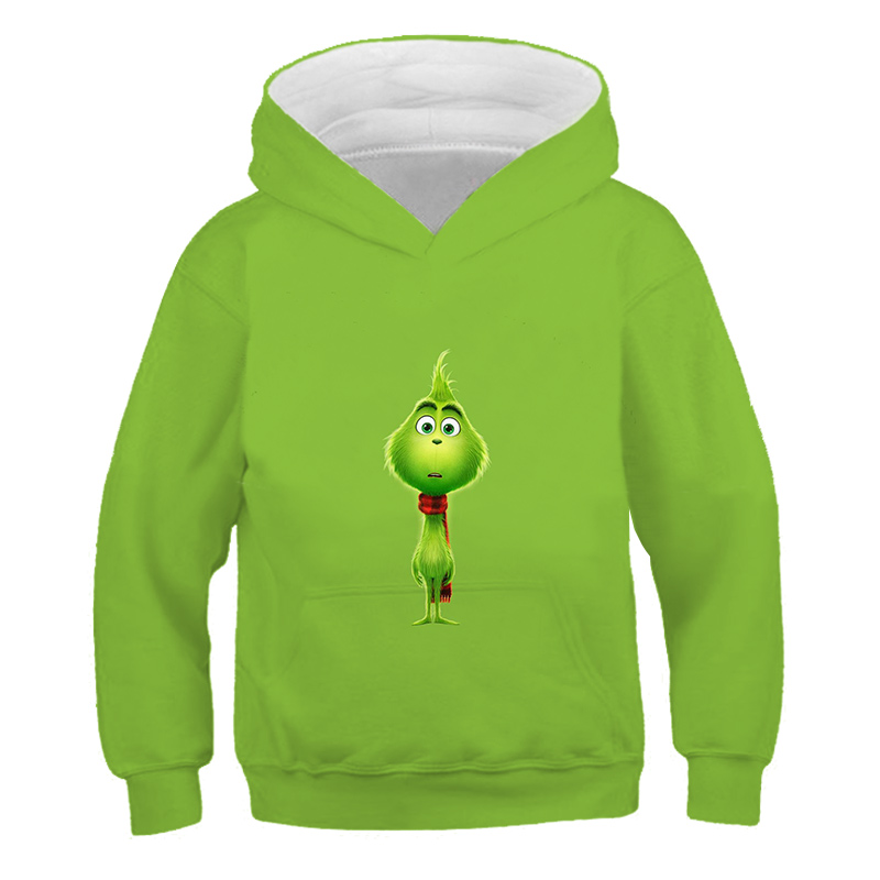 Boys Girls Clothes 3D Hoodie Grinch Children's Autumn Pullover Cartoon Green Teen Casual Long Hoodie Kids Cute Clothes 4T-14T