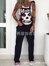 2021 punk skull print macacão moda streetwear sem mangas strappy macacão feminino primavera verão casual solto bolso