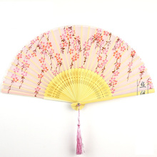 Summer Silk Bamboo Folding Fan Vintage Cooling Chinese  Lady Pocket Ethnic Crafts Wedding Gifts Party Supplies