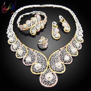 Image 2 - Yulaili High Quality Dubai Gold Jewelry Sets African Nigeria Wedding Bridal Crystal Necklace Earrings Bracelet Ring for Women