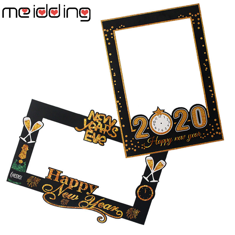 2020 Happy New Year Eve Photo Booth Props Chriatmas Party Decor Paper Photo Frame Happy New Year Supplies Xmas Party Decoration