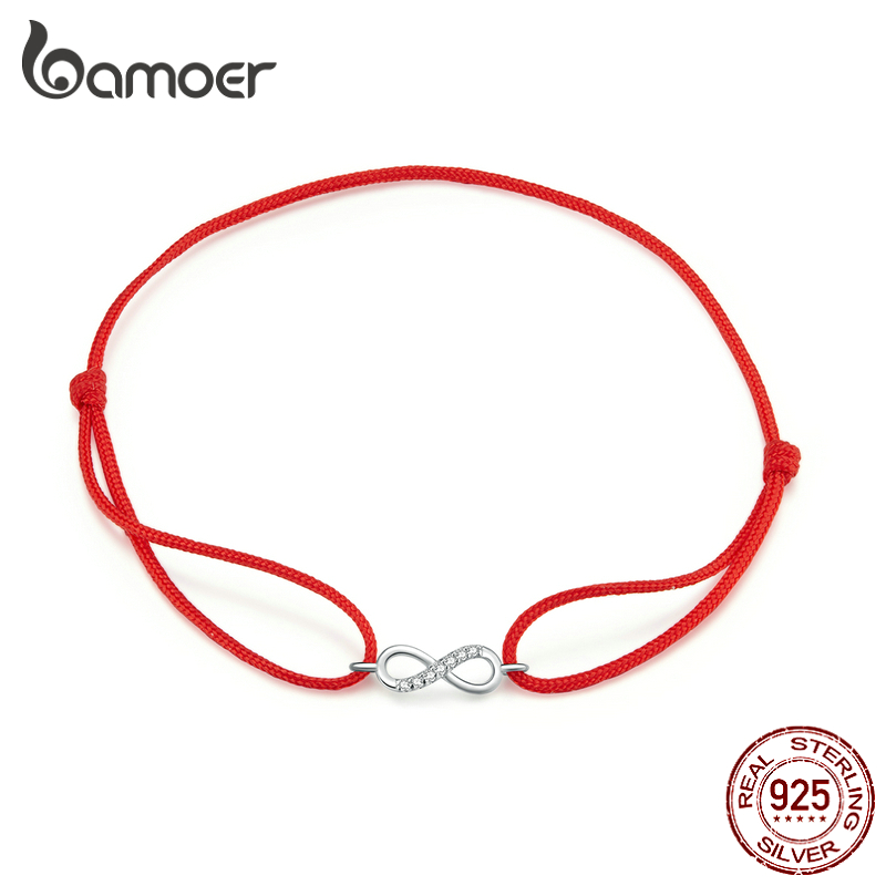 Bamoer Infinity Simple Red Rope Friendship Bracelet 925 Sterling Silver Fashion Jewerly Girl Gifts 2020 New Design SCB176