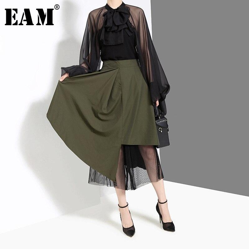 [EAM] High Elastic Waist Green Asymmetrical Mesh Spliced Half-body Skirt Black Women Fashion Tide New Spring Autumn 2019 JZ524
