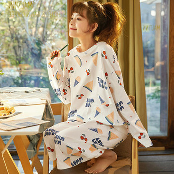 New COTTON PAJAMA girl round neck long sleeve printing Pajama girl autumn student lovely style lady Pajama home clothes Pajama фото