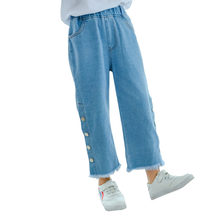цена на Girl Pants 2019 Autumn Wide Leg Jeans Kids Cotton Pants High Waisted Trousers Baby Girl Side Button Denim Pants High Quality