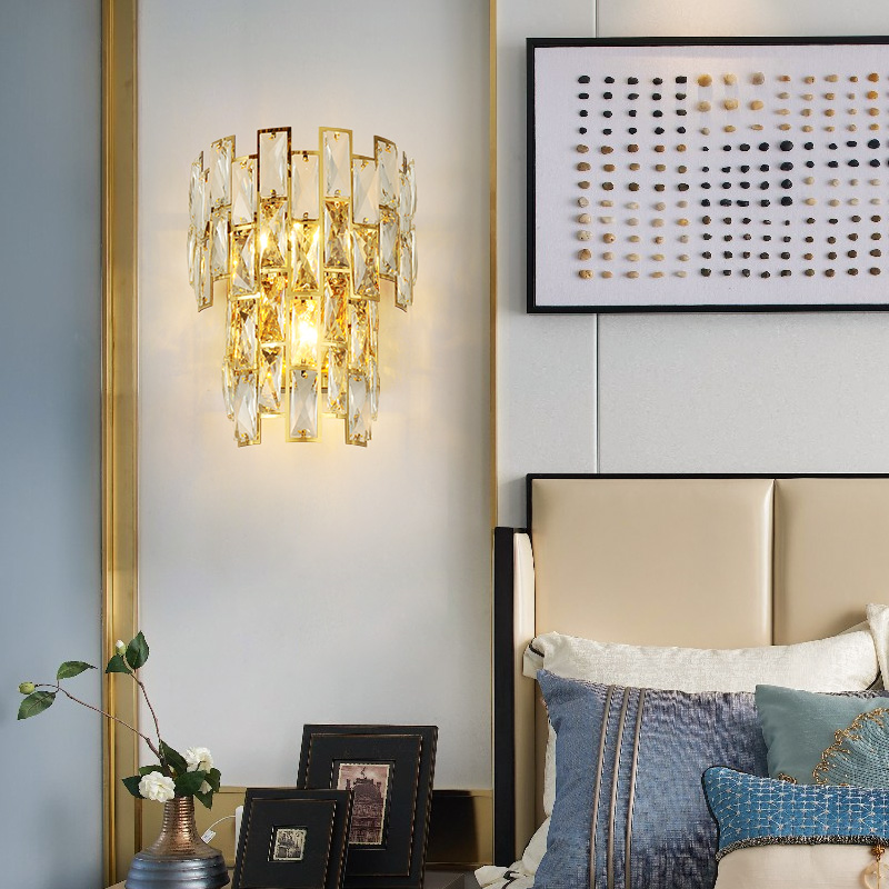 Pós moderna cristal conduziu a lâmpada de parede ferro quarto iluminação cabeceira escadas do corredor ouro luxo luminária luzes entrada do hotel - 4
