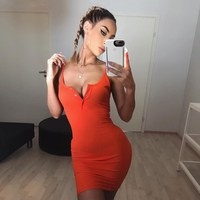 Women Neon Orange Mini Sexy Dress Club Package Hip Short Dress Spaghetti Strap Slim Dress