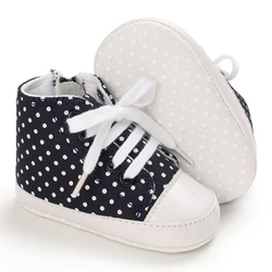 Zapatos antideslizantes Baby Boys Girls Polka Dot zapatillas suela blanda zapatos con cordones para primeros pasos 2020