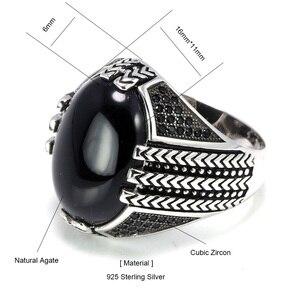 Image 5 - Real puro 925 prata esterlina anéis com pedra ônix preto grande turco anéis para homens retro vintage turquia jóias anelli uomo