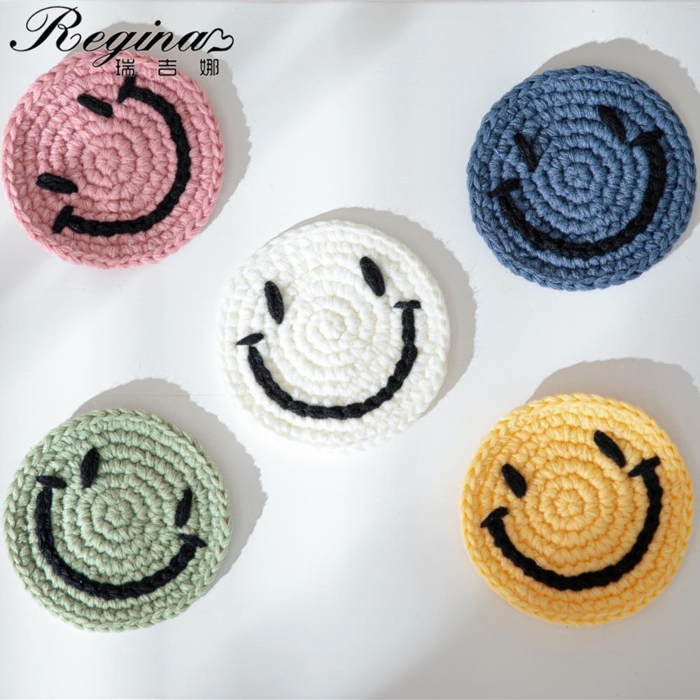 REGINA Brand Insulation Mat Hand crochet Smile Internet Meme Pad Nordic Style Knitted Cup Mat Cute