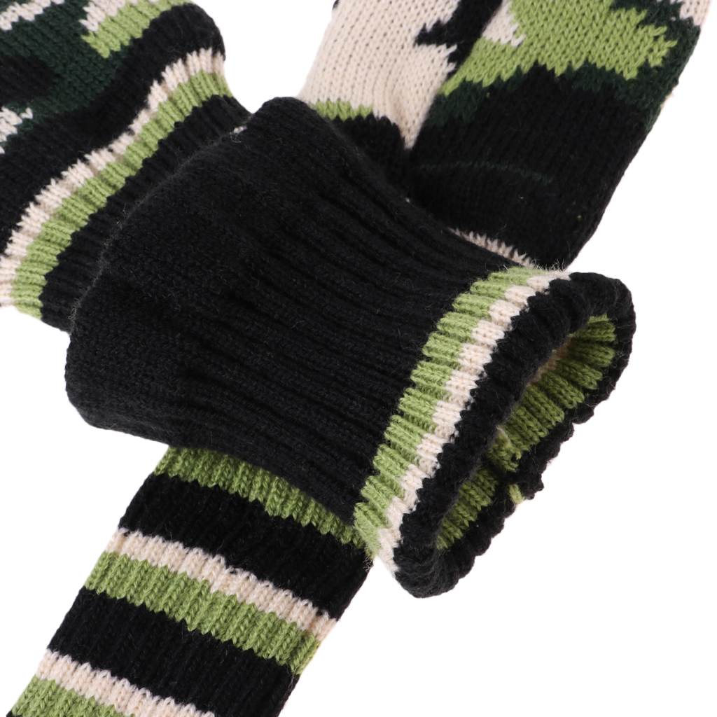 3Pcs Green Fairway Wood Head Cover Knit Vintage Long Neck Headcover Covers Rescue Utility Fairway Woods Driver Head Covers