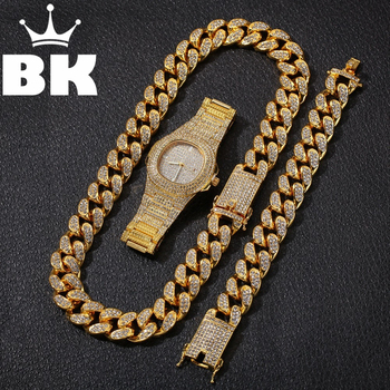 Hip Hop Gold Color Cuban Chain Necklace and Bracelet Set Free Luxury Combination of Watch and Necklace Set