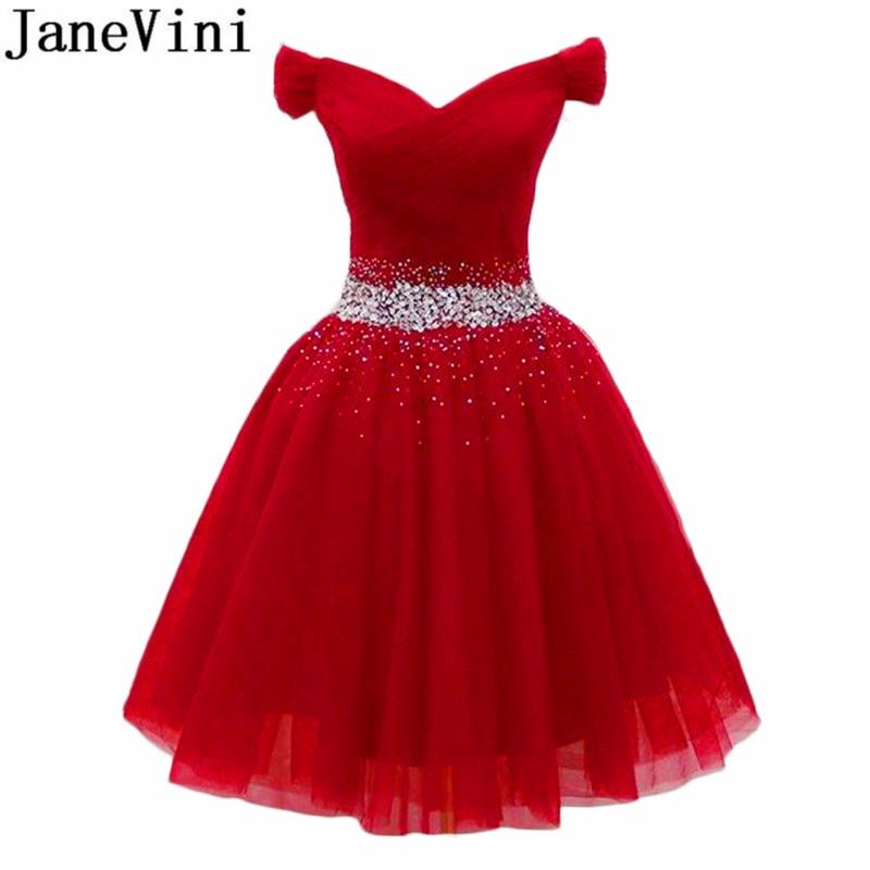 JaneVini robe de soiree Purple Homecoming Dresses Short tulle bleu Burgundy Crystals Beading Off Shoulder Red Formal Party Dress
