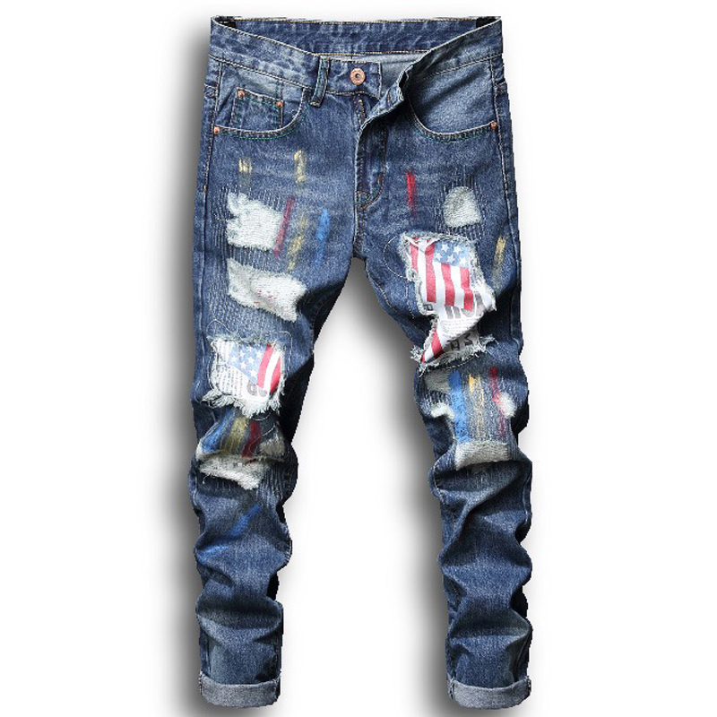 Men Stretchy Ripped Skinny Biker Jeans Slim Fit Denim Scratched High Quality Jeans Men