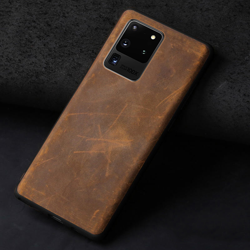 LANGSIDI Leather case For Samsung Galaxy s20 ultra plus s20+ A50 a30 a70 s10 Genuine leather cover Note 10 plus a7 a8 2018 a9