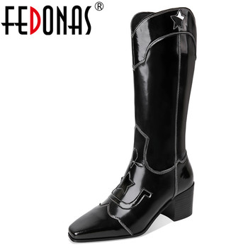 FEDONAS Autumn Winter Plus Size High Heels Western Boots Genuine Leather Women New Mid-Calf Boots Fashion Party Shoes Woman