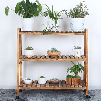 Solid Wood Flower Shelf Multi-layer Simple Balcony Frame Green Fruit Plant Shelf Meat Outdoor Ground Spider Orchid White Flower