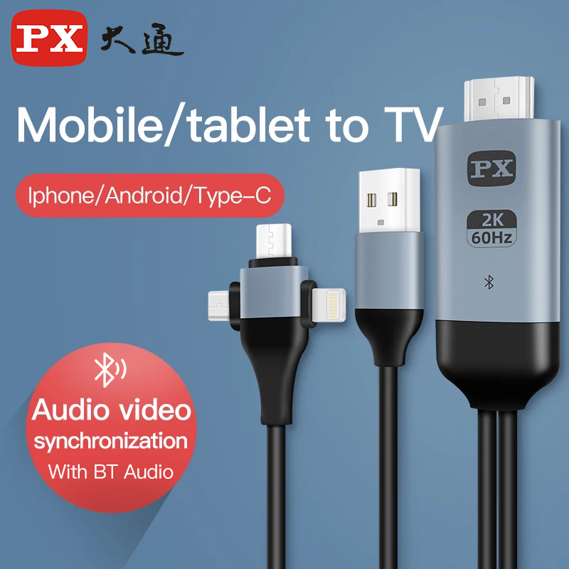 PX 3-in-1 Audio Video Cable Micro USB Type-C to Hdmi-Compatible MHL Cables Converter Iphone Android to TV/Projector Hdtv Cable