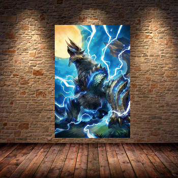 Unframed The Poster Decoration Painting of MONSTER HUNTER WORLD on Canvas Oil canvas painting art posters and prints For Bedroom 2
