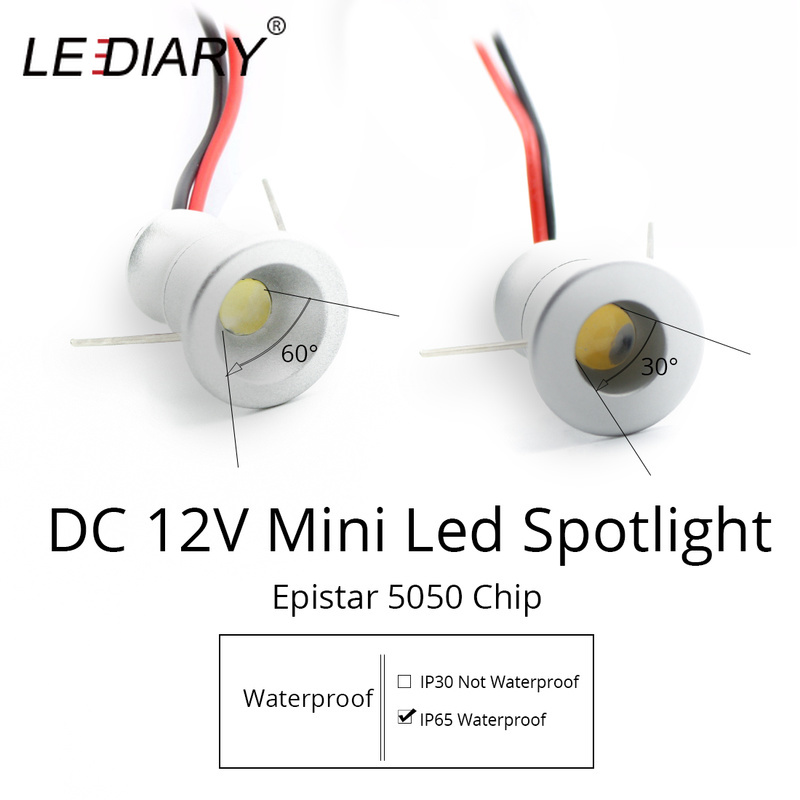 LEDIARY IP65 DC12V Mini LED Spot Cabinet Lights Downlight 15mm Cut Hole RA80 Under Cabinet Jewelry Display Ceiling Recessed Lamp