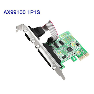 HOT-RS232 RS-232 9Pin Serial Port COM & DB25 Parallel Port Pcie Riser Card PCI-E PCI Express Card Adapter Converter AX99100 1P1S