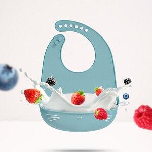 Image 1 - 10 Pcs Baby Lätzchen Silikon Wasserdicht Fütterung Drooling kinder Lätzchen Neugeborenen Cartoon Schürze Einstellbar Spucktücher Speichel baby zeug