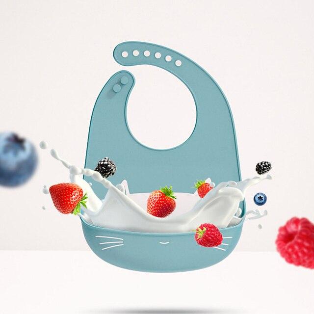 10 Pcs Baby Lätzchen Silikon Wasserdicht Fütterung Drooling kinder Lätzchen Neugeborenen Cartoon Schürze Einstellbar Spucktücher Speichel baby zeug