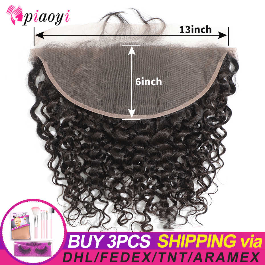 Piaoyi Pre-Plucked 13x6 lace frontal Closure Water Wave Lace Front With Natural Hairline Brazilian Human Hair Remy