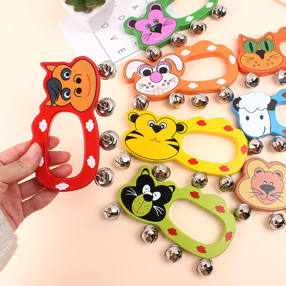Kids Baby Cute Bed Bell Toy Cartoon Animal Wooden Hand Shaking Jingle Bell Tambourine Educational Toys For Children Funny Gift