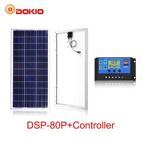 Fotovoltaicos da Bateria da Carga v para a Casa com Controlador Painéis Solares w Painel Solar Conjunto China 18 v Polissilicon Pilha 12 10a 80