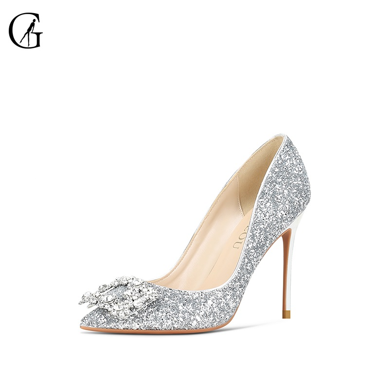 GOXEOU Women's Pumps Rhinestone Square Buckle Glitter Pointed Toe Stiletto Heel Fashion Dress Pump Wedding Party Shoes Size32-46