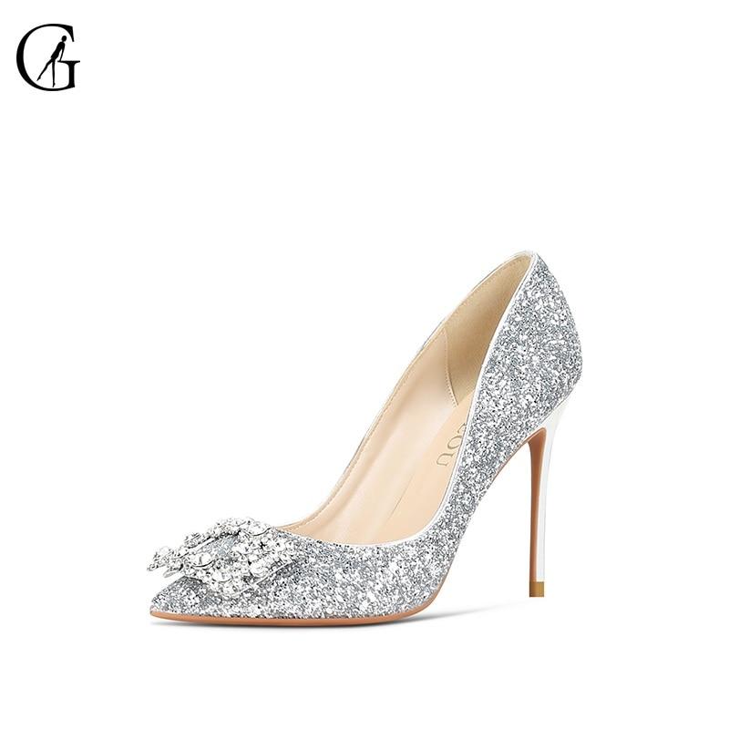 GOXEOU Women's Pumps Rhinestone Square Buckle Glitter Pointed Toe Stiletto Heel Fashion Dress Pump Wedding Party Shoes Size32-46