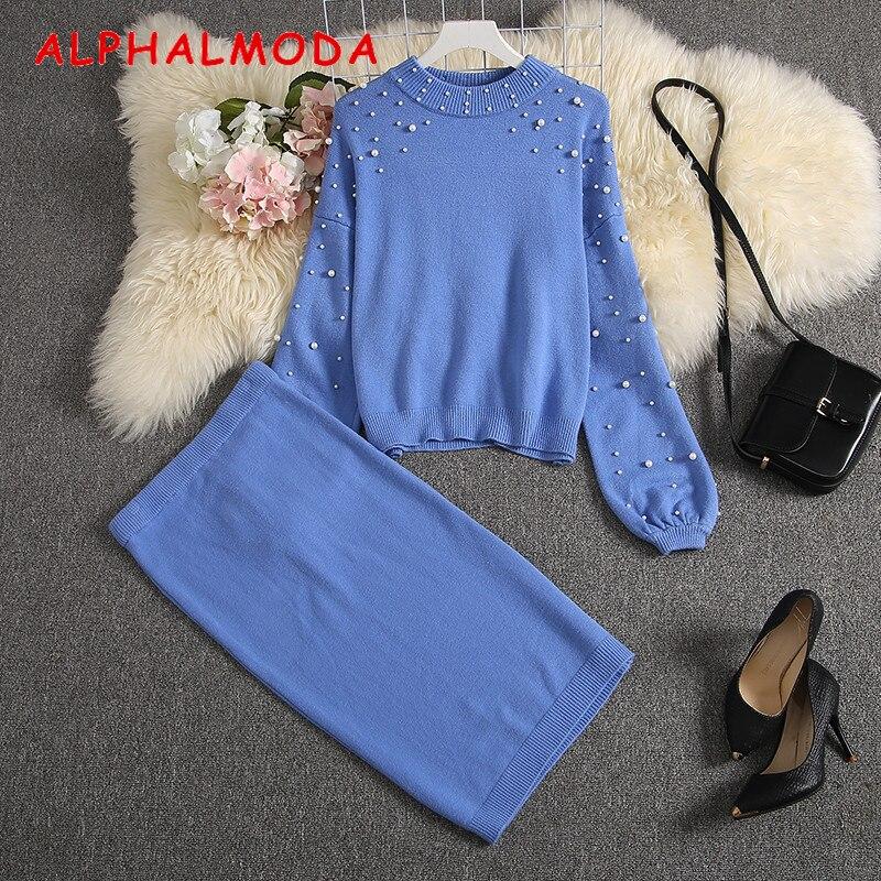 ALPHALMODA 2019 New Women Sweater Skirt Suits Loose Pullover Pearl Jumper + Knee Length Knit Skirts Women Stylish Winter Set
