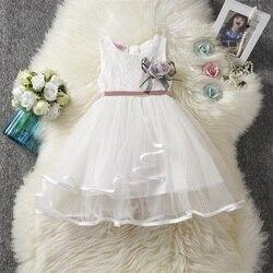 Crianças roupas da menina de verão tule vestido de renda para meninas festa wear 3-8 anos roupa de aniversário do bebê menina escola vestidos casuais