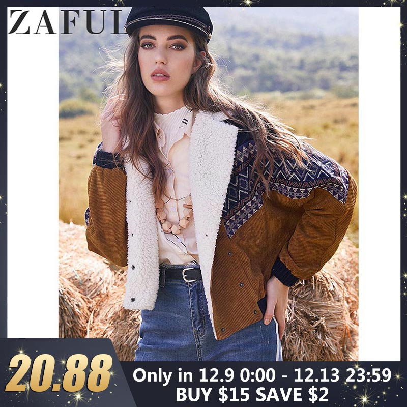ZAFUL Jacket Coats Women Winter Thick Warm Vintage Outwear Double Breasted Tribal Print Faux Shearling Panel Corduroy Jacket