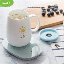 Saengq 55 ℃ Suhu Cangkir Hangat Pemanas Mat Pad Pemanas untuk Teh Cokelat Kehitaman Susu Rumah Kantor Tangan Listrik Cepat Pemanas hangat