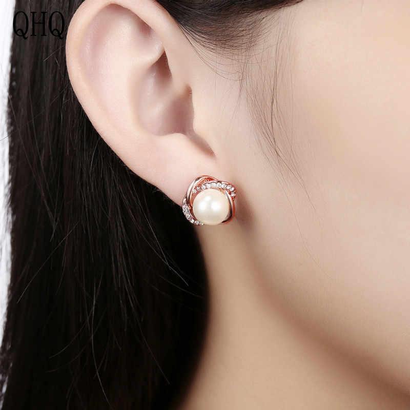 QHQ flor stud pendientes anillos de oreja accesorios finos joyería cristal zirconia perla Piedra natural tachuelas regalos para mujeres