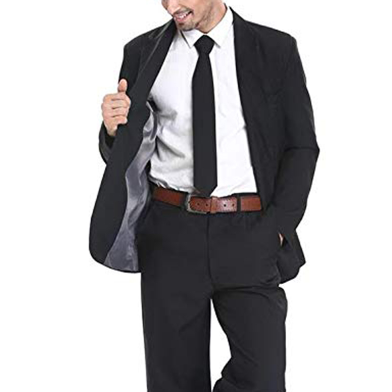 Black Two Buttons Mens Party Suit Solid Color Leisure Suit For Holiday Party Two Pieces Suit Jacket With Tie & Pants