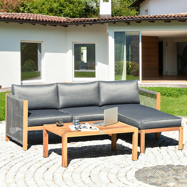 3 Piece Patio Sofa Set with Armrest  5