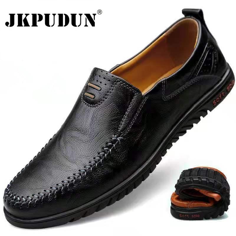 Men Shoes Moccasins Italian Slip On JKPUDUN Formal Black Casual Genuine-Leather Luxury Brand