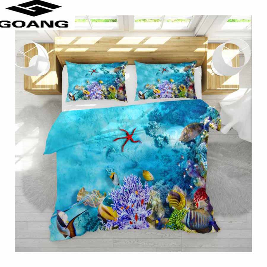 GOANG King Size Bedding-set Duvet Cover 240x220 And Pillowcases Twin Home Textile Sea World Animal Landscape Bedding And Bed-set