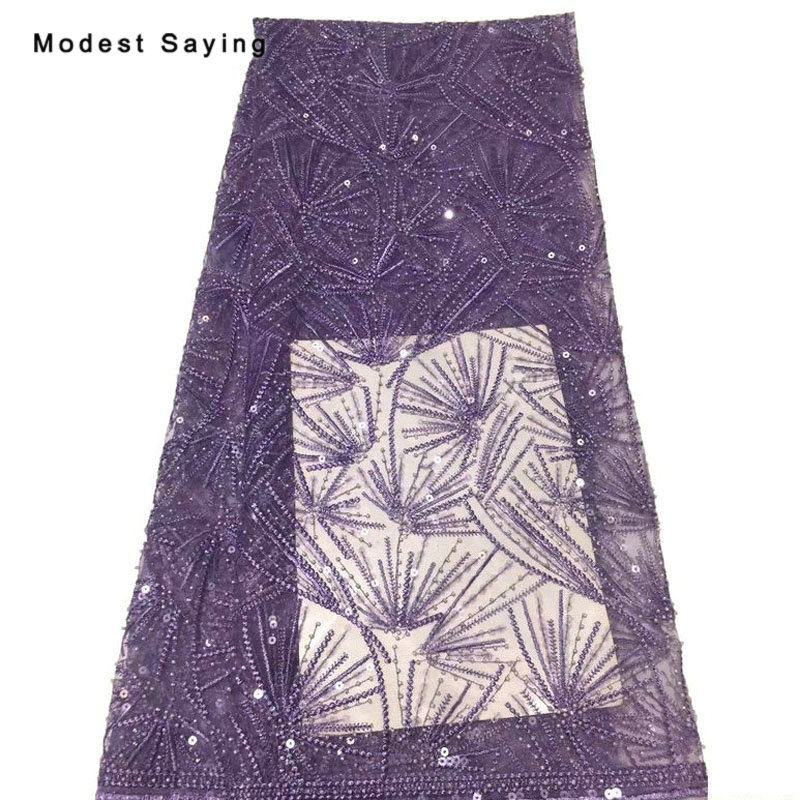 5 Yards Purple African Beads Sequined Lace Fabrics For Evening Dress 2019 Embroidered Mesh Nigerian Party Prom Net Lace Material