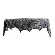 Large Size Special Black Lace Mantel Scarf Halloween Party Horror Home Decoration Mantel Door Window Scarf Cover(China)