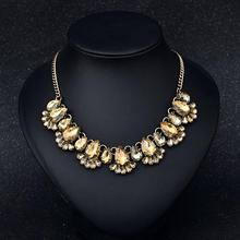 Fashion Exquisite Clavicle Necklace Exaggerated Crystal Gem Pendant Color-preserving Vacuum Plating Necklace Jewellery dominated women pendant necklaces a short section of pearl necklace and exaggerated fashion multi clavicle necklace