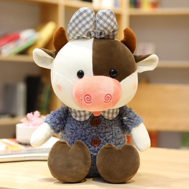 35/45/55cm Kawaii Cow Pet Doll Stuffed Lovely Animal Cattle Plush Toys for Children Cute Cartoon Girls Lover Birthday Present