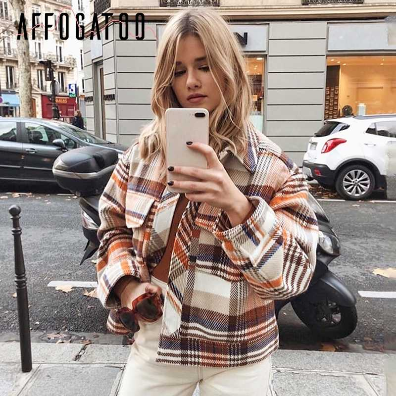 Affogatoo Vintage casual plaid herbst winter jacken mantel frauen Lange hülse outwear weiblichen mantel Streetwear oversize damen mäntel