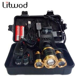 Image 1 - Litwod Z25 головной светильник 3/5 светодиодный T6 налобный фонарь для рыбалки и охоты светильник ing велосипедный светильник вспышки светильник фонарь Фонари светодиодный лампы