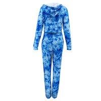 Komplet niebieskich dresów damskich bawełnianych farbowanych metodą tie dye 5