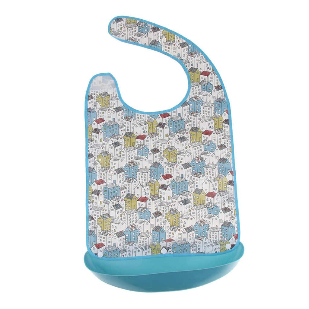 Hombres de las mujeres de edad avanzada adulto grande babero reutilizable lavable ropa Protector para la comida desmontable con receptor de alimentos