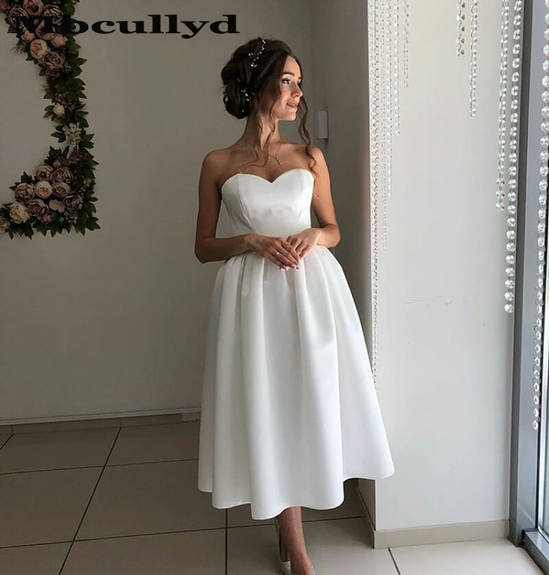 Mbcullyd Sweetheart Tea Length Short Wedding Dress 2020 Elegant A Line Bohemia Beach Dresses Bridal For Women Vestido De Noiva